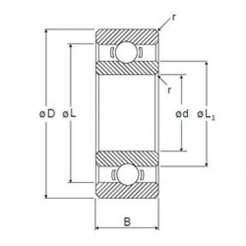 4 mm x 8 mm x 2 mm  4 mm x 8 mm x 2 mm  NMB L-840 deep groove ball bearings